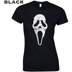 Ghost Face Mask Knife 90s Slasher Funny Movie Scary Halloween Horror... ($10) ❤ liked on Polyvore featuring tops, t-shirts, black, women's clothing, checkered t shirt, vintage tops, retro tees, vintage cotton t shirts and retro tops