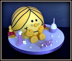 """Can you imagine the squeals of delight when I was asked to make another Little Miss (Mr Men) cake. but this time being """"Little Miss S. Chocolate Dome, Chocolate Pinata, Miss Cake, Birthday Cake Girls, School Birthday, Birthday Ideas, Monsieur Madame, Jungle Cake, Pinata Cake"""