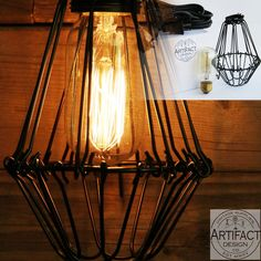 Industrial Vintage Style Pendant Light Fixture Set with Black Metal Wire Cage , Toggle Switch Plug-in Cord and Radio Style Edison Bulb , Adjustable Cage Openings to Different Styles Cage Light Fixture, Pendant Light Fixtures, Pendant Lamp, Foyer Lighting, Vintage Industrial, Black Metal, Black Pipe, Vintage Style, Bulb