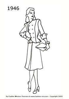 1946 Fashion history suit silhouette drawing