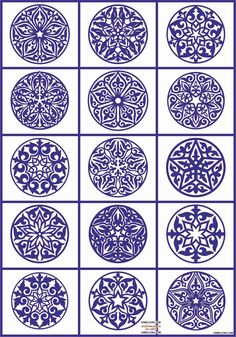 Decorative patterns: interior ideas and tracery for designers Mandala Painting, Dot Painting, Ceramic Painting, Stencils, Stencil Templates, Diy And Crafts, Paper Crafts, Blue Pottery, Pottery Designs