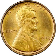 1909 VDB 1C MS obverse 1909 S Wheat Penny - First Year of longest running US Coin - Find out the history behind the coin and there's one for sale ... http://investinrealmoney.com/1909-wheat-penny