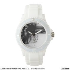 Black Fire II Sporty White Silicon Watch Designed by Artist C.L. Brown and available in a variety of styles on Zazzle. #watch #watches #fashion #accessories #artbyclbrown