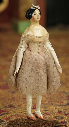 The Memory of All That - Marquis Antique Doll Auction: 18 Petite German Paper Mache Doll with Rare Body