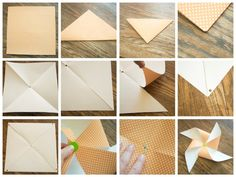 i made about 25 large pinwheels for our photo shoot the other evening. they are really easy. once i got going they took about 3 minutes each--not bad! supplies...lots of fun paper {i used scrapbook paper that was already a large square}, large, fun brads, scissors, dowels or wooden skewers, wire or …