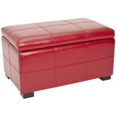 Safavieh Madison Red Bicast Leather Indoor Storage Bench