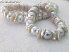 Large Oval Grey with Unbleached White Keshi Freshwater Pearl Longer Necklace
