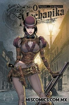 """Lady Mechanika is the newest creator-owned comic book series by American comic book artist Joe Benitez, inspired by the steampunk genre. """"Steampunk"""" is all about re-imagining history, usually combining the … Lady Mechanika, Arte Steampunk, Steampunk Artwork, Steampunk Fashion, Steampunk Book, Steampunk Couture, Steampunk Cosplay, Steampunk Characters, Fantasy Characters"""