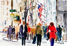 Doodlewash and watercolor sketch by Diane Klock of city street #WorldWatercolorMonth