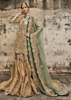Buy Pakistani Bridal Wear - Embroidered gharara - Pakistani Bridal Dresses With Embroidered Work Asian Bridal Dresses, Pakistani Wedding Outfits, Pakistani Bridal Dresses, Pakistani Wedding Dresses, Pakistani Dress Design, Bridal Outfits, Indian Outfits, Pakistani Gharara, Indian Gowns