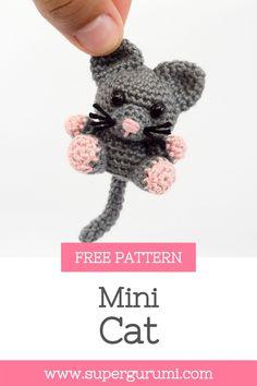 Chat Crochet, Crochet Cat Toys, Crochet Cat Pattern, Crochet Animal Patterns, Crochet Patterns Amigurumi, Crochet Gifts, Crochet Animals, Crochet Dolls, Mini Amigurumi