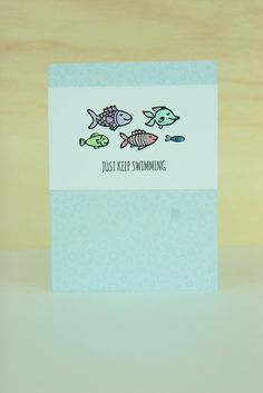 Send a sweet handmade card of encouragement to a friend who needs it! All stamps, dies, and card stock by A Muse Studio. Sealed with a Fish stamp set. #cas #diy #stamping #handstamped #papercrafts #cardideas #amusestudio #justkeepswimming