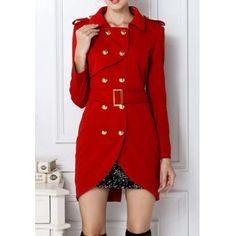 $43.28 Fashion Turn-Down Collar Belted Double-Breasted Design Long Sleeves Slimming Women's Trench Coat
