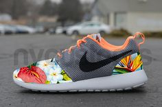 Nike Roshe Run Wolf Grey Blue Island Floral Palm Tree by NYCustoms, $175.00