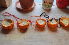 Pumpkin ideas and pumpkin beeswax candles