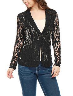 427c796db Allegra K Women Shawl Collar Sheer Floral Lace Blazer Jacket S Black ***  Visit