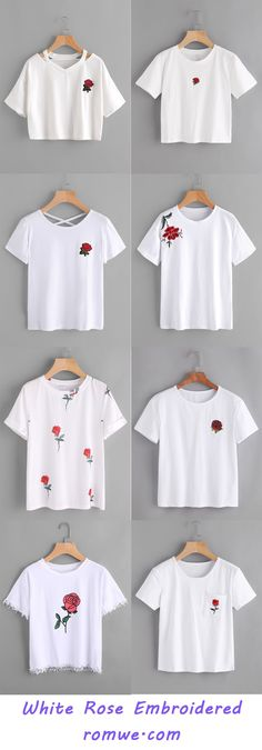 White Rose Embroidered T shirts - romwe.com