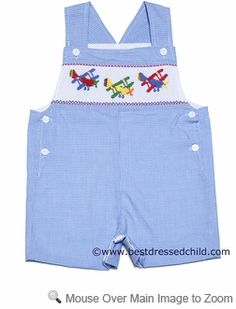 Anavini Baby / Toddler Boys Blue Gingham Smocked Airplanes John John