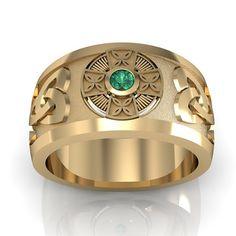 Celtic Ring- 10k Solid Yellow Gold Emerald Men's Celtic Cross Wedding Ring