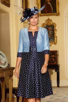 Condici 90414 Embroidered Silk Tea Dress with Contrasting Jacket in French Navy/Cornflower & Diamond Dust/Cream