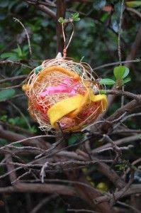 nesting orbs from #paintcutpaste - handmade from wire & stuffed with natural materials for birds to use to beautify their nests in spring