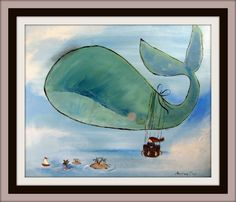 Childrens Decor Whale Painting Whimsical Wall Art for by andralynn, $100.00
