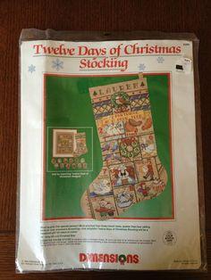 Dimensions 1989 Sealed Twelve Days of Christmas Stocking Kit Cross Stitch