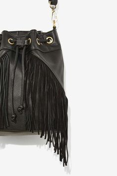 Cassidy Fringe Leather Bucket Bag