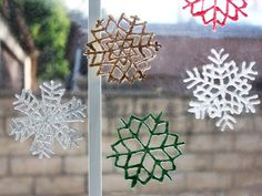 Get creative with these snowflake window clings. They are a great way to involve the kids and make some wonderful craft decorations that you can keep up all winter long!