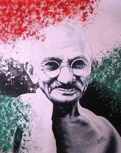 "Saatchi Art Artist Paula Prislin Samms; Painting, ""Mahatma Gandhi"" #art Mahatma Gandhi Photos, Mk Gandhi, Phone Gif, India Independence, Cute Kids Pics, Selling Art Online, Freedom Fighters, Incredible India, Art Sketches"
