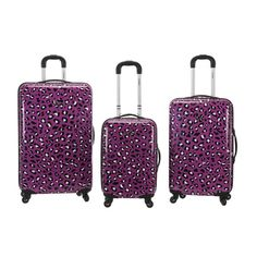 A pretty purple leopard pattern decorates this hardside luggage, making your suitcases easy to spot at the baggage claim. Designed with spinner wheels and a telescoping handle, these flexible suitcase 3 Piece Luggage Set, Luggage Sets, Pink Leopard, Pink Zebra, Snow Leopard, Rockland Luggage, Lightweight Luggage, Hardside Spinner Luggage, Spinner Suitcase