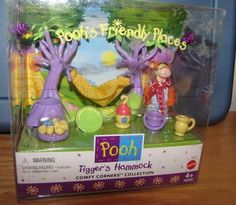 Pooh Playset Tigger's Hammock Comfy Corners Collection by Mattel. $30.00. Cute and collectible. Brand New in Box. lots of play pieces and accessories. Never removed from sealed box - 1998 - Friendship Charm Collection - by Mattel - Has cute fuzzy Tigger figure with a hammock, trees and other play pieces