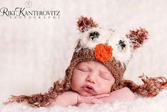 Fun Baby Owl Hat Cap with Fuzzy Eyes Earflaps & Ties  by PamKR, $26.00