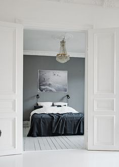 Bedroom with a grey wall | Visit www.homedesignideas.eu for more inspiring…
