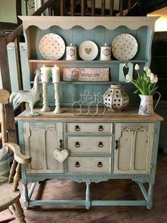 Beautiful blue & white painted buffet cabinet