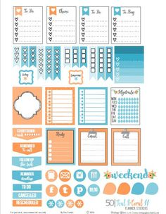 Teal and Coral II Planner Stickers – Free Printable