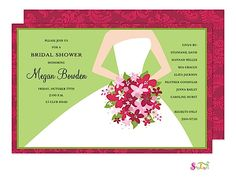 Wedding Day Bridal Shower Invitation with in holiday colors for December Bride | Little Angel Announcements
