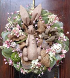 Burlap Rabbit on Burlap and Deco Mesh Wreath