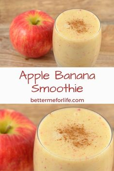 Apple Banana Smoothie - Better Me for Life - A simple and refreshing smoothie, . - Apple Banana Smoothie – Better Me for Life – A simple and refreshing smoothie, this apple bana - Apple Smoothie Recipes, Easy Smoothies, Fruit Smoothies, Vitamix Recipes, Apple And Banana Smoothie, Organic Smoothies, Kiwi Smoothie, Strawberry Smoothie, Smoothie Diet