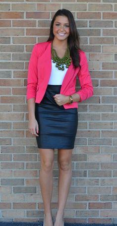 Pink blazer, blue skirt and white shirt