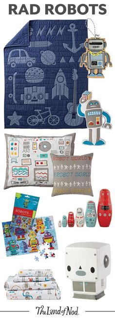Need help creating a robot-themed bedroom? From robot print bedding and toys to decor, these robotic essentials are perfect for any kid's room. Each piece will add fun pops of color and style.