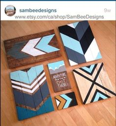 A few pieces of scrap wood, a bit of stain and some craft paint and you can create a rustic and custom-coloured scrap wood chevron art piece. ** Find out more at the image link. #homedecorhelp