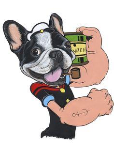 French Bulldog as Popeye , sketch by The Dog Painter - Jeroen Teunen