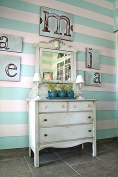 Striped walls...love!  Turquoise striped wall...LOVE!!