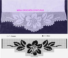 Miria Crochês E Pinturas: Maio 2018 - Diy Crafts Crochet Snowflake Pattern, Crochet Lace Edging, Crochet Borders, Crochet Flowers, Filet Crochet Charts, Crochet Stitches, Free Crochet, Knitting Patterns, Crochet Patterns