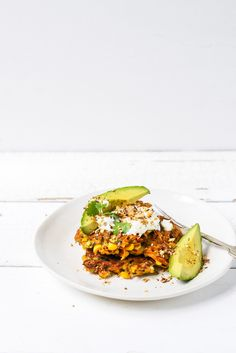 From the Kitchen I Carrot, Zucchini and Corn fritters with avocado, yoghurt and dukkah