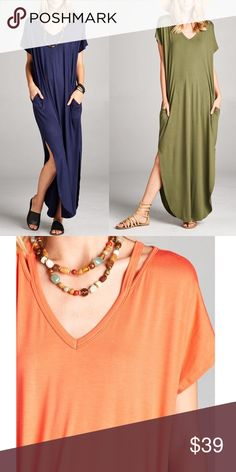 """LILA v neck maxi dress w/ pockets - OLIVE/NAVY V-neck Cut out detail dress with pocket.  Model Size Small, length 55"""" Fabric 95% RAYON 5 % SPANDEX Made in USA. ONLY olive (S & M) & NAVY (all sizes) Bellanblue Dresses Maxi"""