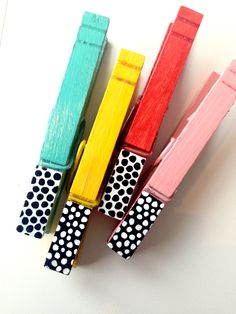 COLOR BLOCK CLOTHESPINS hand painted wooden magnetic pegs by SugarAndPaint on Etsy