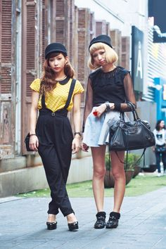 Korean street style. Love the peter pan collar and the braces. Those two looks are everywhere in Seoul's boutiques this season.