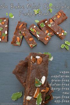 Raw mint chocolate brownie bars. Gluten free, vegan, paleo and dairy free.